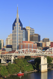 Shelby Pedestrian Bridge and Nashville Skyline  Tennessee  United States of America  North America