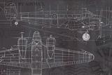 Plane Blueprint I Reproduction d'art par Marco Fabiano