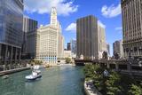 Chicago River Walk Follows the Riverside Along East Wacker Drive