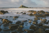 Rocky Shoreline and St Michaels Mount  Early Morning  Cornwall  England  United Kingdom  Europe