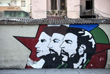 Revolutionary Mural Painted on Wall  Havana Centro  Havana  Cuba  West Indies  Central America
