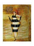 Vintage Beach Girl Black Stripes