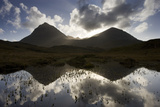 Quinag (Sail Ghorm and Sail Gharbh) and Moorland Pool  Assynt  Sutherland  Nw Scotland  UK  October
