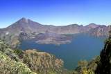 Panoramic View over the Lake Inside the Crater of Rinjani  Lombok  Indonesia
