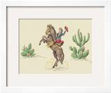 Cowboy on Rearing Horse