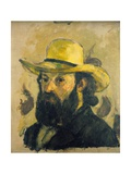 Self-Portrait in a Straw Hat Giclée par Paul Cézanne