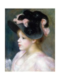 Young Girl in a Pink-And-Black Hat Giclée par Pierre-Auguste Renoir