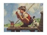 Illustration of Boy Hooking Bait