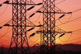Sunset Behind Electrical Towers