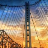 Beautiful Sunset Crossing Bay Bridge  Oakland