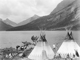 Teepee Indians on Shore of Lake
