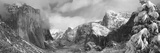 Mountains and Waterfall in Snow  Tunnel View  El Capitan  Half Dome  Bridal Veil
