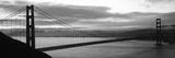 Silhouette of a Suspension Bridge at Dusk, Golden Gate Bridge, San Francisco, California, USA Papier Photo