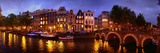 Buildings Along a Canal at Dusk  Amsterdam  Netherlands