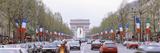 Traffic on a Road  Arc De Triomphe  Champs Elysees  Paris  France