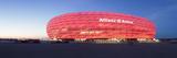 Soccer Stadium Lit Up at Dusk  Allianz Arena  Munich  Bavaria  Germany
