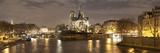 Notre Dame and Eiffel Tower at Dusk  Paris  Ile-De-France  France