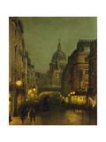 St Paul's Cathedral from Ludgate Circus  London  England