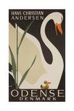 Odense Denmark Travel Poster, Hans Christian Andersen Ugly Duckling Giclée