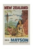 Matson Lines Travel Poster, New Zealand Giclée