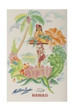 Matson Lines Travel Poster  Hawaii Native with Tropical Fruit