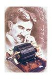 Nikola Tesla with Machine Giclée