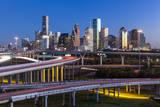 City Skyline and Interstate  Houston  Texas  Usa