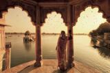 India  Rajasthan  Jaisalmer  Gadi Sagar Lake  Indian Woman Wearing Traditional Saree Outfit