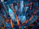 Vue aérienne de Wall Street, New York Reproduction d'art par Cameron Davidson