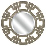 Metallic Greek Key Round Wall Mirror