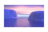 Two Icebergs Face to Face in the Ocean with Pink and Violet Sunrise