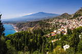 Taormina and Mount Etna Volcano Seen from Teatro Greco (Greek Theatre)