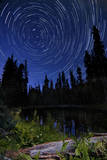 Star Trails Above Summit Lake in Lassen Volcanic National Park  California
