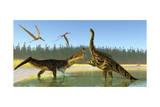 A Kaprosuchus Reptile Confronts an Agustinia Dinosaur