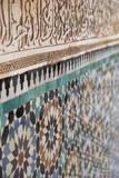 Traditional Moroccan Zallij Tile Work in the Ben Youssef Medersa