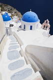 Church with Blue Dome with View of the Aegean Sea  Oia  Santorini  Cyclades  Greek Islands