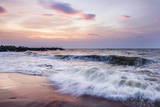Waves Crashing on Negombo Beach at Sunset  West Coast of Sri Lanka  Asia