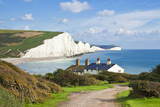The Seven Sisters Chalk Cliffs and Coastguard Cottages