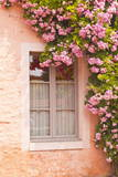 A Rose Covered Window in the Village of Noyers Sur Serein in Yonne  Burgundy  France  Europe