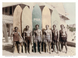 Hawaiian Duke Kahanamoku and his Brothers with Surfboards at Waikiki Beach  Hawaii