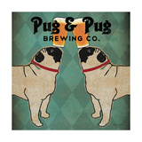 Pug and Pug Brewing Square Reproduction d'art par Ryan Fowler