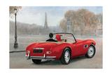 A Ride in Paris III Red Car Giclée premium par Marco Fabiano