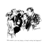 """We decided to just stay preppy  as though nothing had happened"" - New Yorker Cartoon"