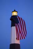 USA  Georgia  Tybee Island  Flag flying on lighthouse at Tybee Island