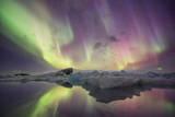Iceland  Jokulsarlon Aurora lights reflect in lagoon