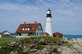 Portland  Maine  USA Famous Head Light lighthouse on rocky cliff