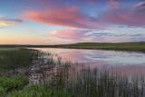 Prairie pond at sunrise in Garfield County near Jordan  Montana  USA