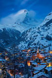 Twilight over the Matterhorn and village of Zermatt  Switzerland