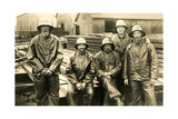Lumberyard Workers in Rain Gear