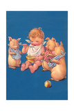 Baby with Pigs Eating Cereal